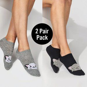 Ladies Stay In Place Fun Cat Socks - 2 Pair Pack